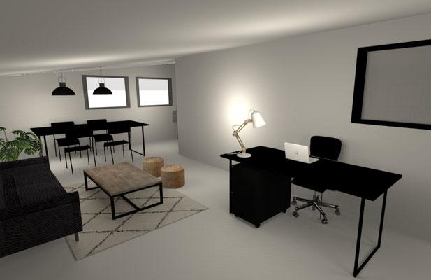 Vue 3D - Dossier Conseil en décoration pour l'aménagement d'un bureau - Ile de la Réunion 974