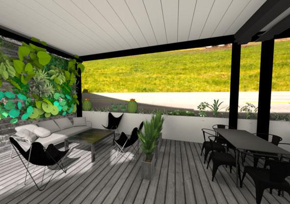 Vue 3D de la Terrasse - Aménagement et décoration restaurant Ile de la Réunion 974