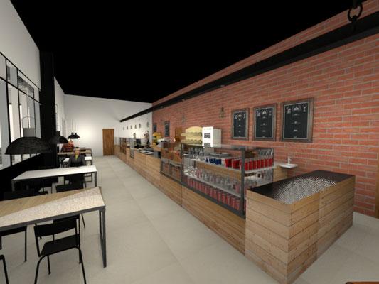 Vue 3D de l'intérieur du restaurant - - Aménagement et décoration restaurant Ile de la Réunion 974