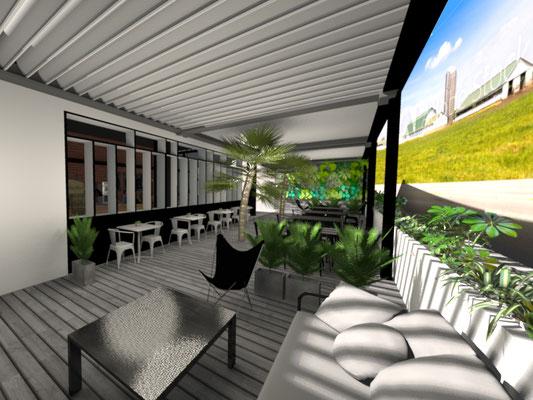 Vue 3D de la Terrasse- Aménagement et décoration restaurant Ile de la Réunion 974