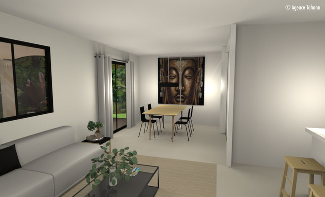 Vue 3D Salon et Salle à manger - Agence Tohana - Décoration d'intérieur Ile de La Réunion - 974