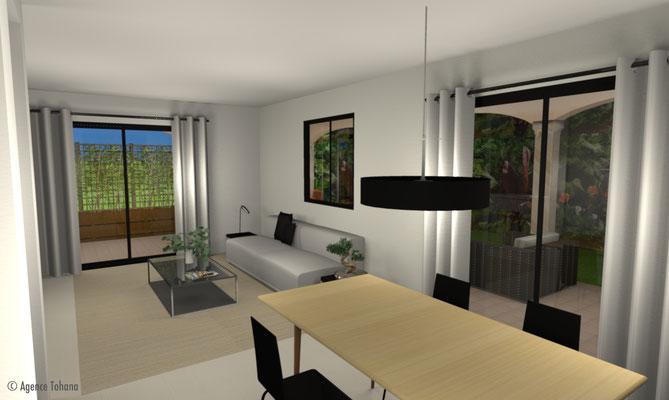 Vue 3D Salon et Salle à manger - Agence Tohana- Décoration d'intérieur Ile de La Réunion - 974