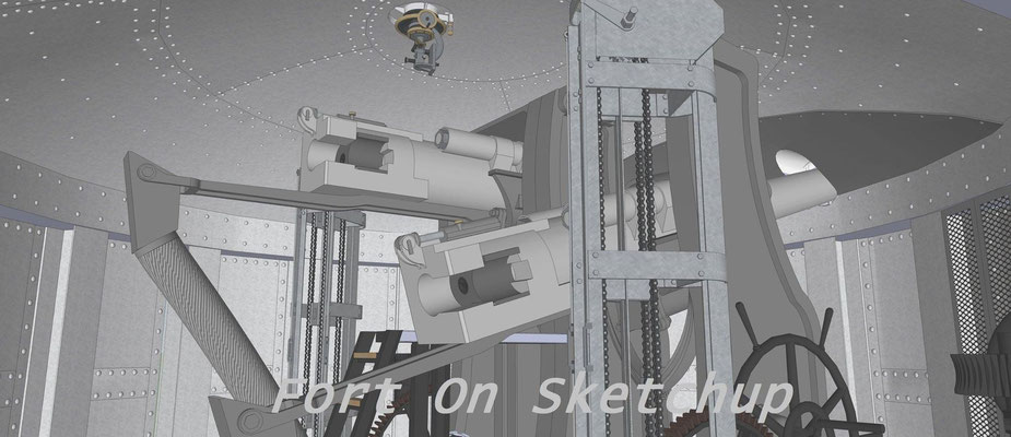 Chambre à canons de la coupole de 105 mm