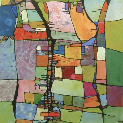 Terrain de femmes Acrylique sur toile 100 x 100cm