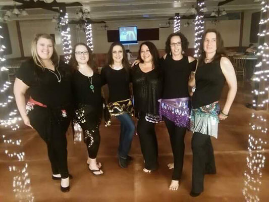 Spring 2018 Hafla dancers. Kristin Shields, Rachel Miller, Tammy Modis-Carlson Little, Dawn Pauze, Deneece Moore, Careen Shafer