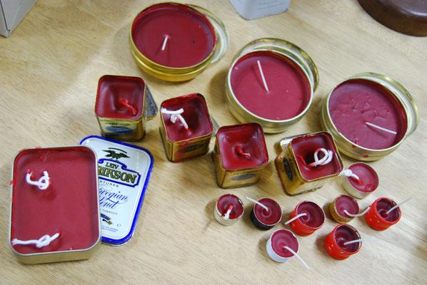 Kerzen aus alten Dosen und Kerzenresten