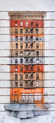 """<b>LIQUORS & WINE</b><br>150 x 100 cm<br><a style=""""color:#db6464;"""">Vendu</br><alt=""""art peinture streetart urbain ville sculpture urbaine contemporain bois palette>"""