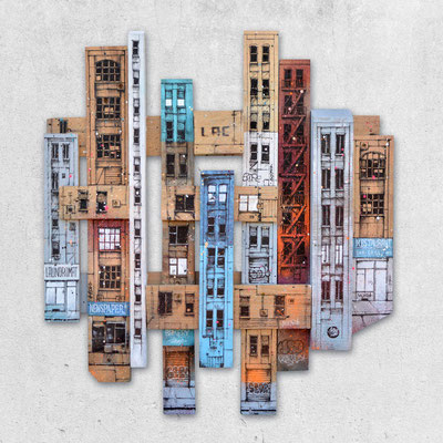 "<b>MADISON AVENUE</b><br>80 x 73 cm<br><a style=""color:#db6464;"">Vendu</a><alt=""art peinture streetart urbain ville sculpture urbaine contemporain bois palette wood wooden pallet architectural painting piece city building"">"