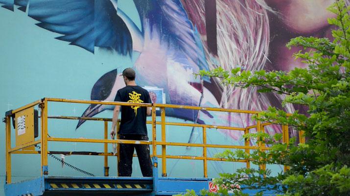 "<alt=""artiste peintre streetart graffiti festival just Do Paint Saint-Brieuc Bretagne art urbain GRAFFMATT artiste peintre fresque murale"">"