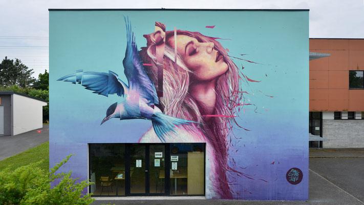 "<alt=""artiste peintre streetart graffiti festival just Do Paint Saint-Brieuc Bretagne art urbain GRAFFMATT artiste peintre fresque murale portrait femme oiseau peinture murale"">"
