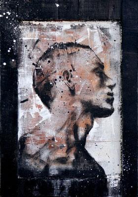 """<b>FORCED CHANGE</b><br>45 x 31 cm<br><a style=""""color:#db6464;"""">Vendu</br><alt=""""art tableau streetart urbain portrait homme peinture sur bois>"""