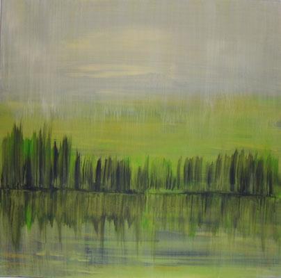 """Nr. 46 """"Am grünen Fluss""""  Acryl auf Leinwand 70 x 70"""