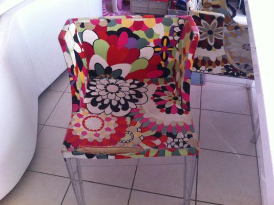 Chaises Kartell Mademoiselle, design Philippe Starck avant