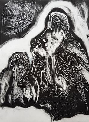 le sage et l'oiseau 39,5x29,5/monotype