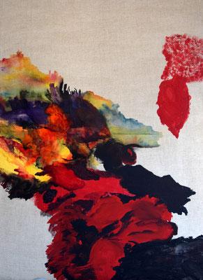 Corolle - Pigments, acrylique et encres/ toile - 100 x 73