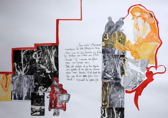 Chaperon Rouge dans le Bois des Etoiles,35x50,