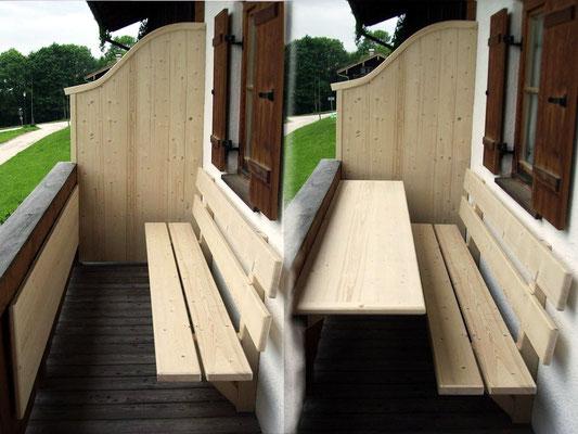 Raffinierte Balkonlösung mit klappbarem Tisch