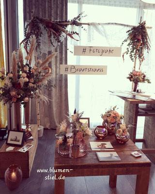 Traubogen  Hochzeit Brautstrauß Boho Eucalyptus