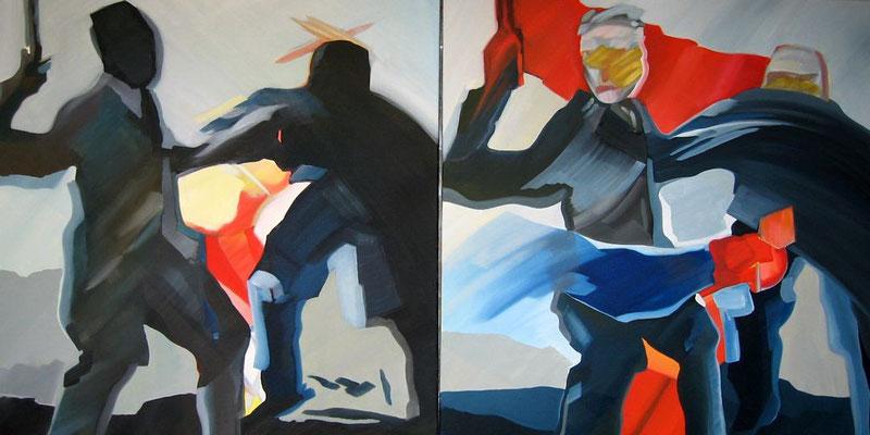Menschenbilder, Öl auf Leinwand, 2 x 90 x 90 cm
