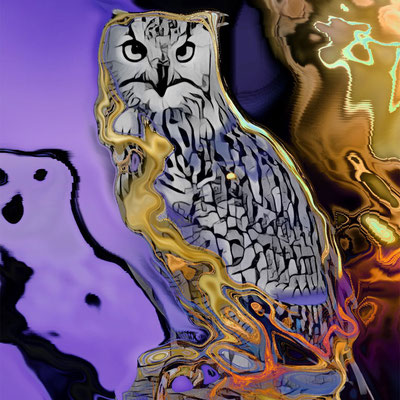 Majesty of an Owl digital mixed media by Teresa Cowley