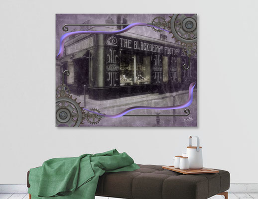 The Blackberry Factory Scene in situation as a fine art canvas print.
