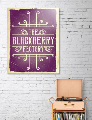 The Blackberry Factory Typographic in situation as wall art