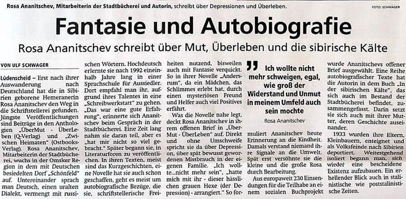 """Artikel in """"Lüdenscheider Nachrichten"""" über die Autorin Rosa Ananitschev: """"Fantasie und """"Autobiografie"""", von Ulf Schwager"""