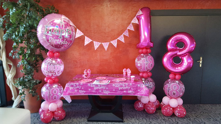 Déco anniversaire Girly 18 ans