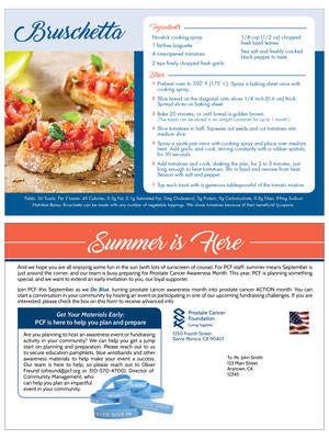 Direct Mail - Recipe Card - for Prostate Cancer Foundation