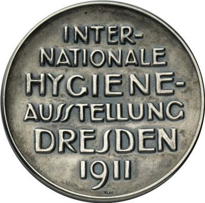 Silbermedaille zur Internationalen Hygieneausstellung Dresden 1911