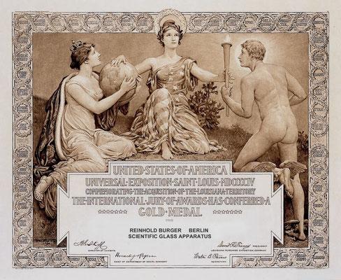 Bild: Urkunde zur Goldmedaille Weltausstellung St. Louis 1904 (Rekonstruktion) für seine Vakuumgefäße und Röntgenröhren