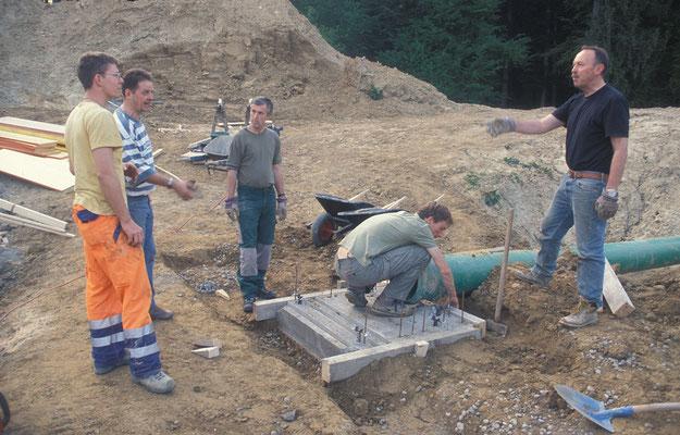Bau des Teichmönchfundaments