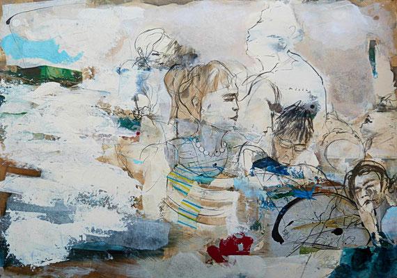 """Romanheldin"", 100 x 140 cm, Acryl, Kohle, Collage auf Leinwand 2019, verkauft"