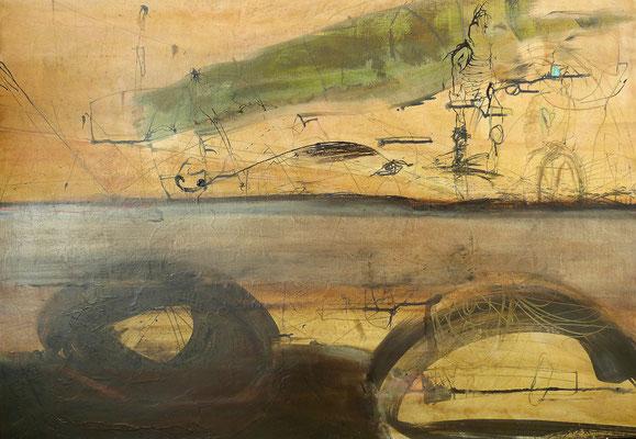 o.T. 70 x 100 cm, Tusche auf Holz 2019