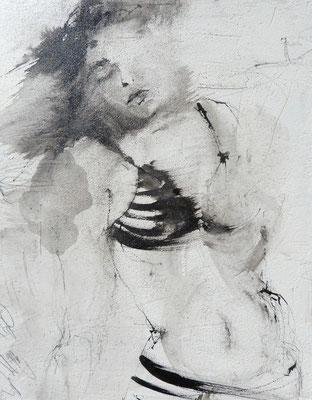 """Bild der Serie """"STRONG GIRLS"""", 30x24 cm, Acryl,Tusche auf MDF"""