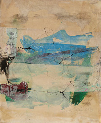 """""""Kleines Blaues"""", 50x40 cm, Acryl, Collage, Tusche auf Leinwand"""