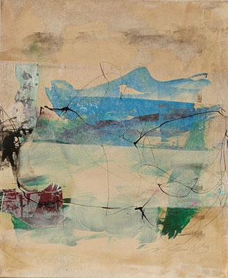 """""""Kleines Blaues"""", 50x40 cm, Acryl, Collage, Tusche auf Leinwand, verkauft"""