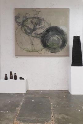 """""""Innenleben"""", 120x140 cm , Kohle, Kreide, Tusche auf Naturleinen"""