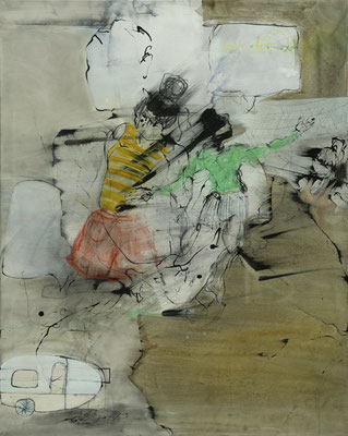 """life is a caravan "", 100 x 80 cm, Acryl, Tusche, Kohle, Kreide auf Leinwand 2019, verkauft"
