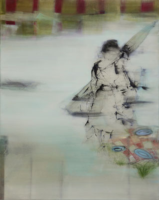 """Picknickdame"", 100 x 80 cm, Acryl, Tusche, Kreide auf Leinwand, 2019, verkauft"