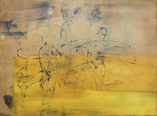"""Motiv der Serie """"Strandleben"""", 60 x 80 cm, Acryl, Tusche auf Leinwand 2019, verkauft"""