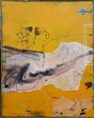 100 x 80 cm , Collage auf Leinwand, aktuell reserviert