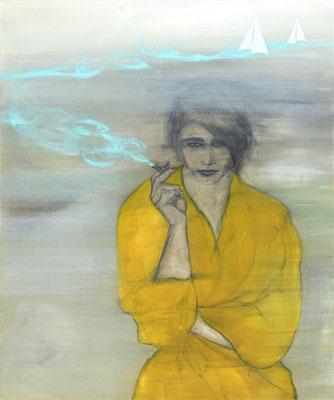 """""""Mal eben ans Meer"""", 120x100 cm, Acryl, Kohle, Kreide, Collage auf Leinwand, erhältlich als Fine Art Druck limitiert 40x50cm"""