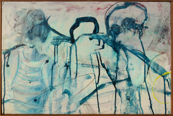 """Erster Tag am Meer"", 60x80 cm, Acryl, Tusche auf Leinwand"