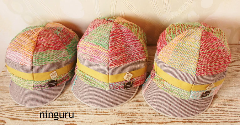 パステルカラーの春らしさ満点の手織り生地を使った キャスケット!やさしい色合い♡