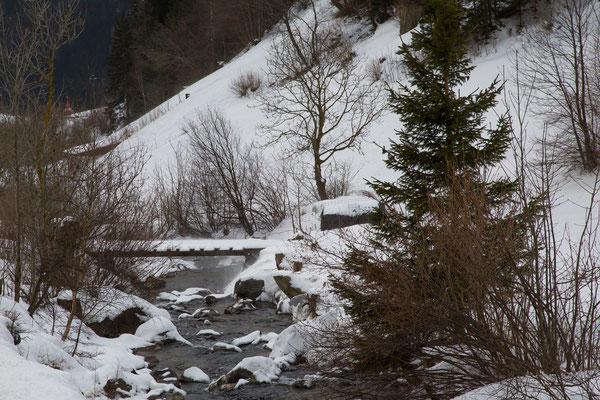 An der Strasse ein verschneiter Gebirgsbach