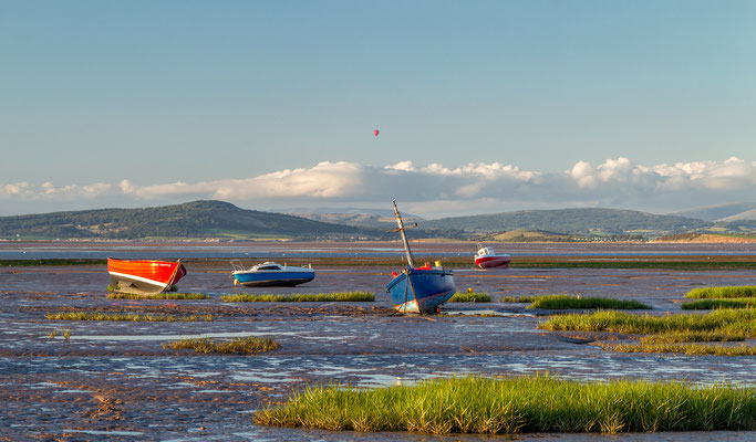 Balloon flight over Morecambe Bay, England