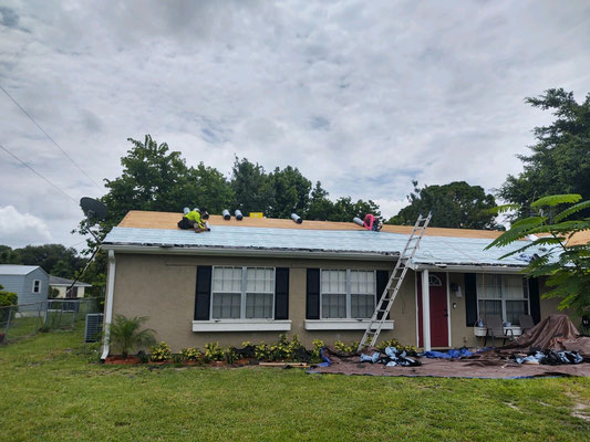 Started a roof in sunny Vero Beach, taking of existing and installing new underlayment and new metal roof!