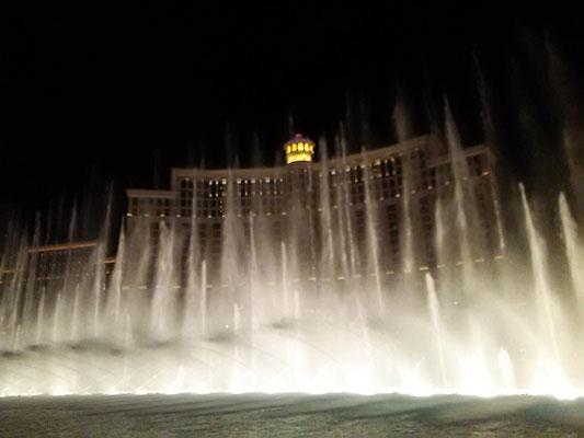 噴水ショーは昼も夜も定期的にやっている。