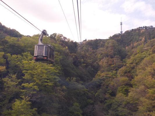 日本平から久能山東照宮へ下って行きます。小学校時代には階段を上りました。